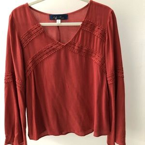 Francesca's Boho Lace-Trimmed Top
